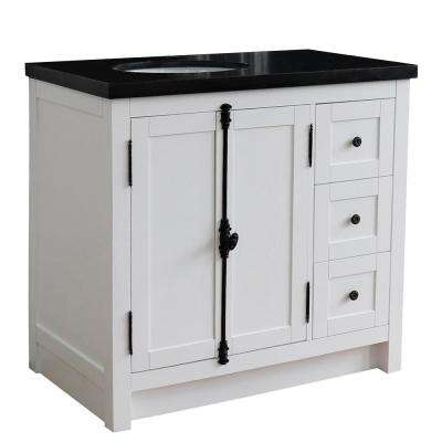 37 in. W x 22 in. D x 36 in. H Bath Vanity in Glacier Ash with Black Granite Vanity Top and Left Side Oval Sink