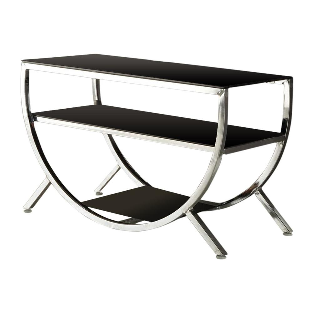 Kings Brand Furniture Chrome And Black Glass Modern Tv Stand 010e