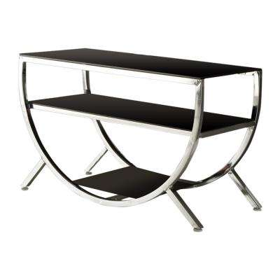 Chrome and Black Glass Modern TV Stand