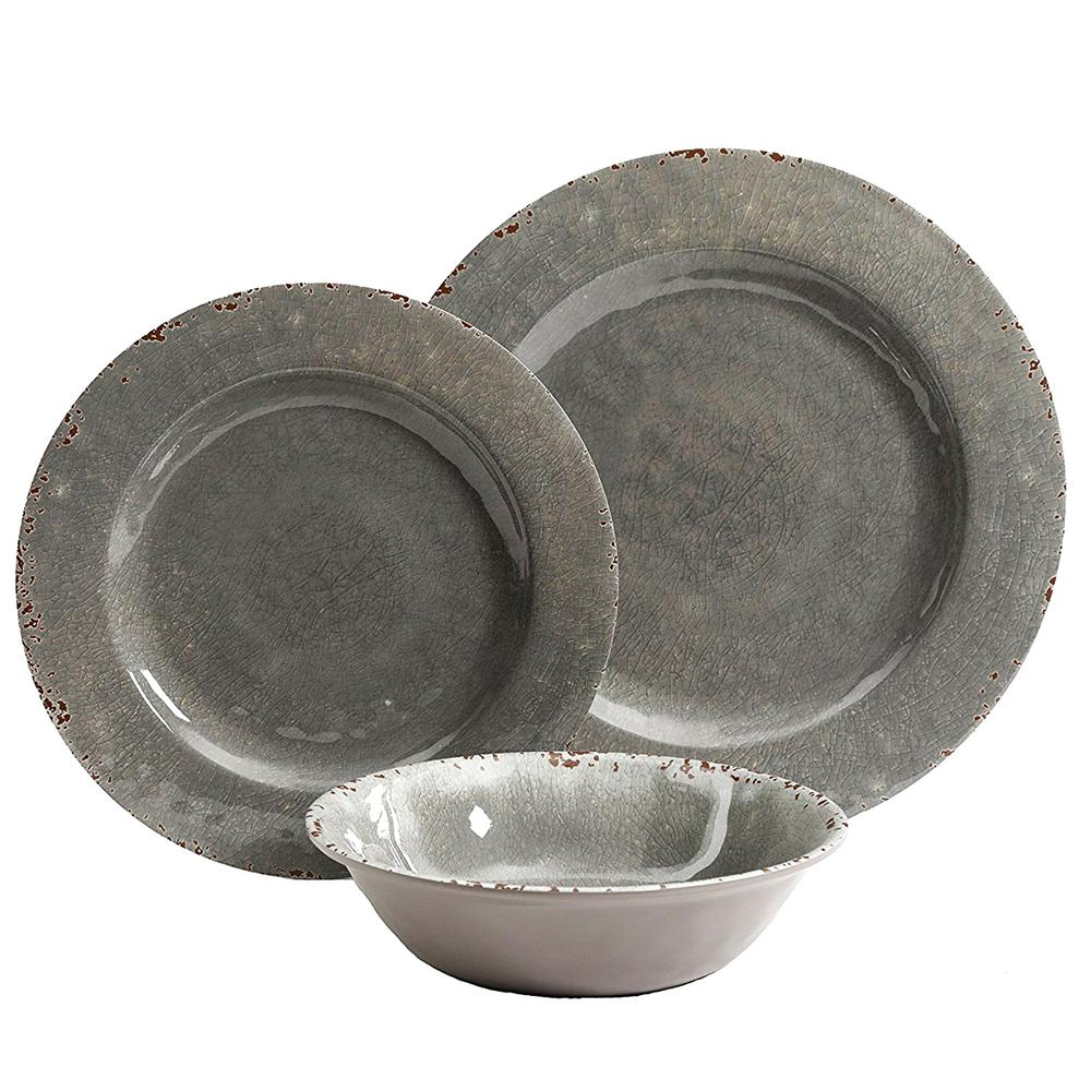 Studio California Mauna 12-Piece Gray Crackle Dinnerware Set  sc 1 st  Home Depot & Studio California Mauna 12-Piece Gray Crackle Dinnerware Set ...
