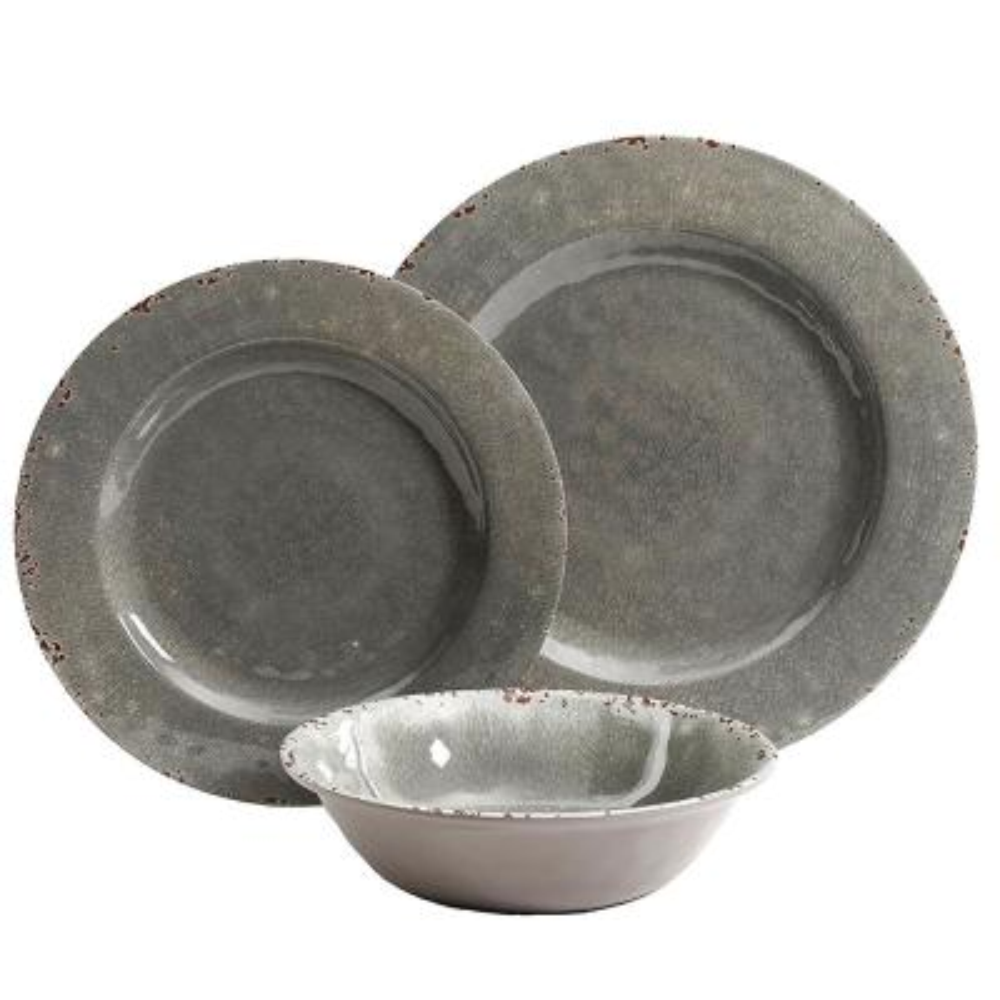 Mauna 12-Piece Casual Gray Melamine Outdoor Dinnerware Set (Service for 4)