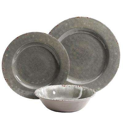 Mauna 12-Piece Gray Crackle Dinnerware Set