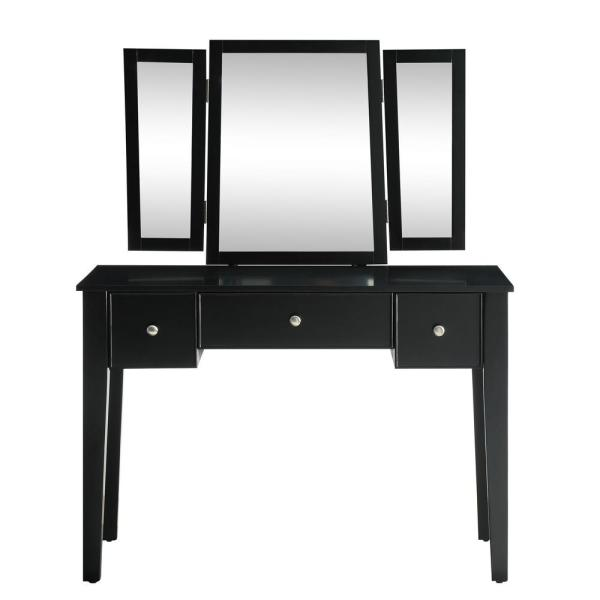 Acme Furniture Severus 2-Piece Tan Velvet and Black Vanity Set