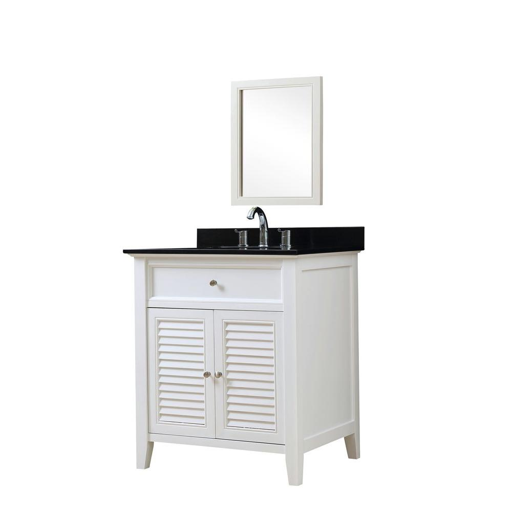 Direct vanity sink Shutter 32 in. Vanity in White with Granite Vanity Top in Black with White Basin and Mirror