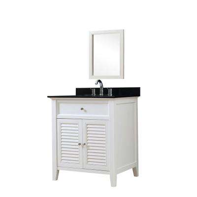 Shutter 32 in. Vanity in White with Granite Vanity Top in Black with White Basin and Mirror