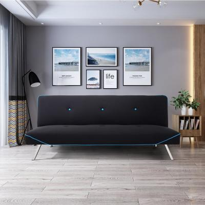 35 in. Black Polyester 3-Seater Full Sleeper Armless Sofa Bed with Tapered Legs