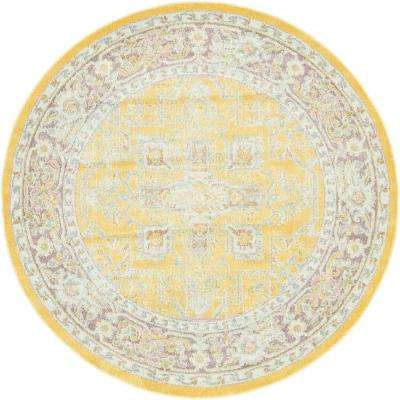 5 Round Interior Only Yellow Area Rugs The