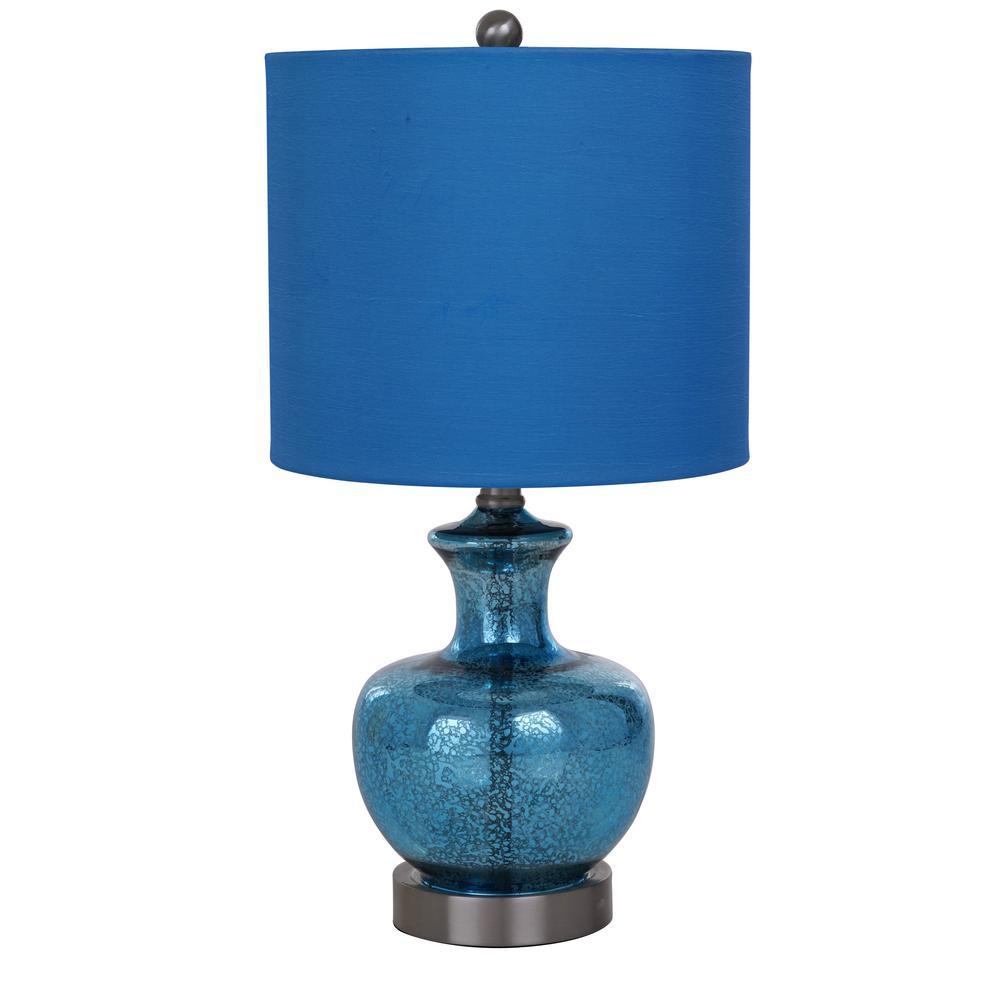 Catalina Lighting 19 In Blue Mercury Glass Table Lamp With Blue
