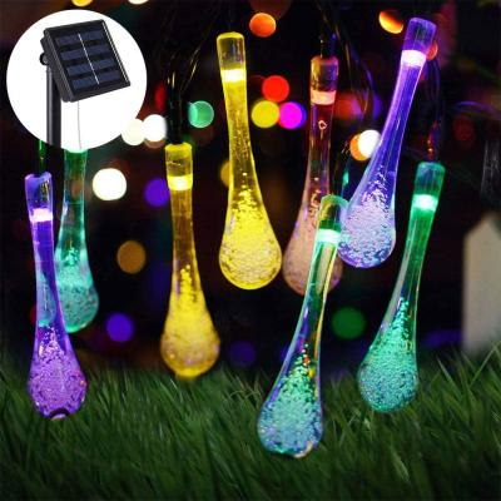 Outdoor 20 ft. Solar Novelty Bulb 30 LED String Light in Multi-Color