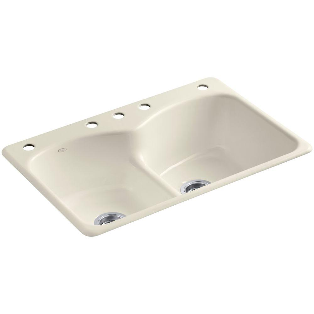 KOHLER Langlade Smart Divide Drop-In Cast-Iron 33 in. 5-Hole Double Basin Kitchen Sink in Almond