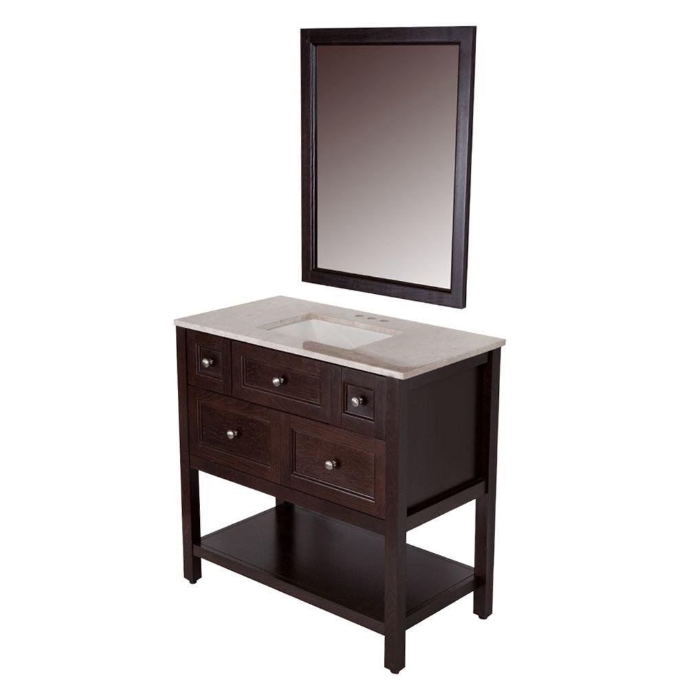 Glacier Bay Ashland 36 in. W x 19 in. D Bath Vanity in Chocolate ...