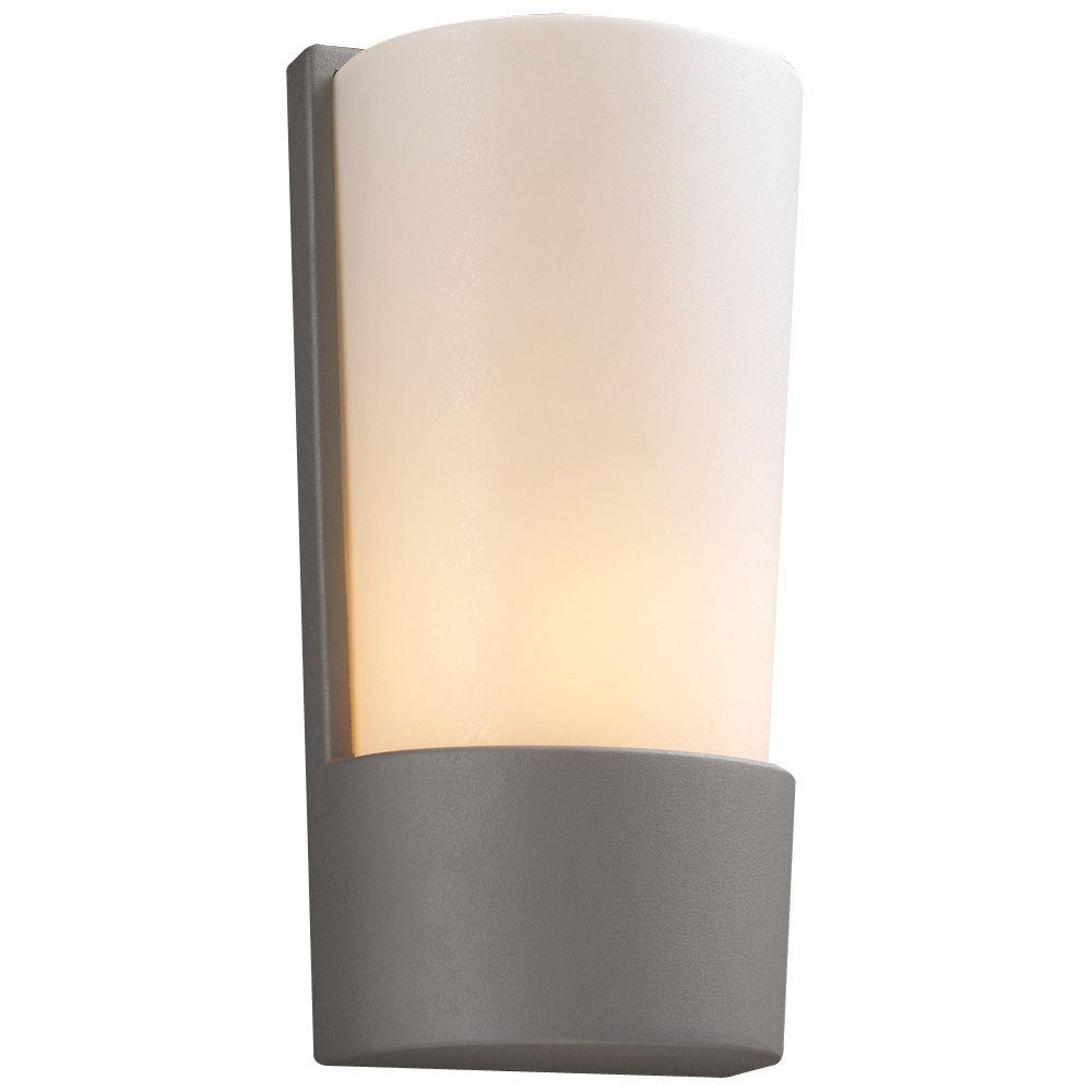 plc lighting 1-light outdoor silver wall sconce with matte opal