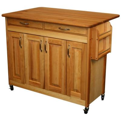 44-3/8 in. Butcher Block Kitchen Island with Drop Leaf