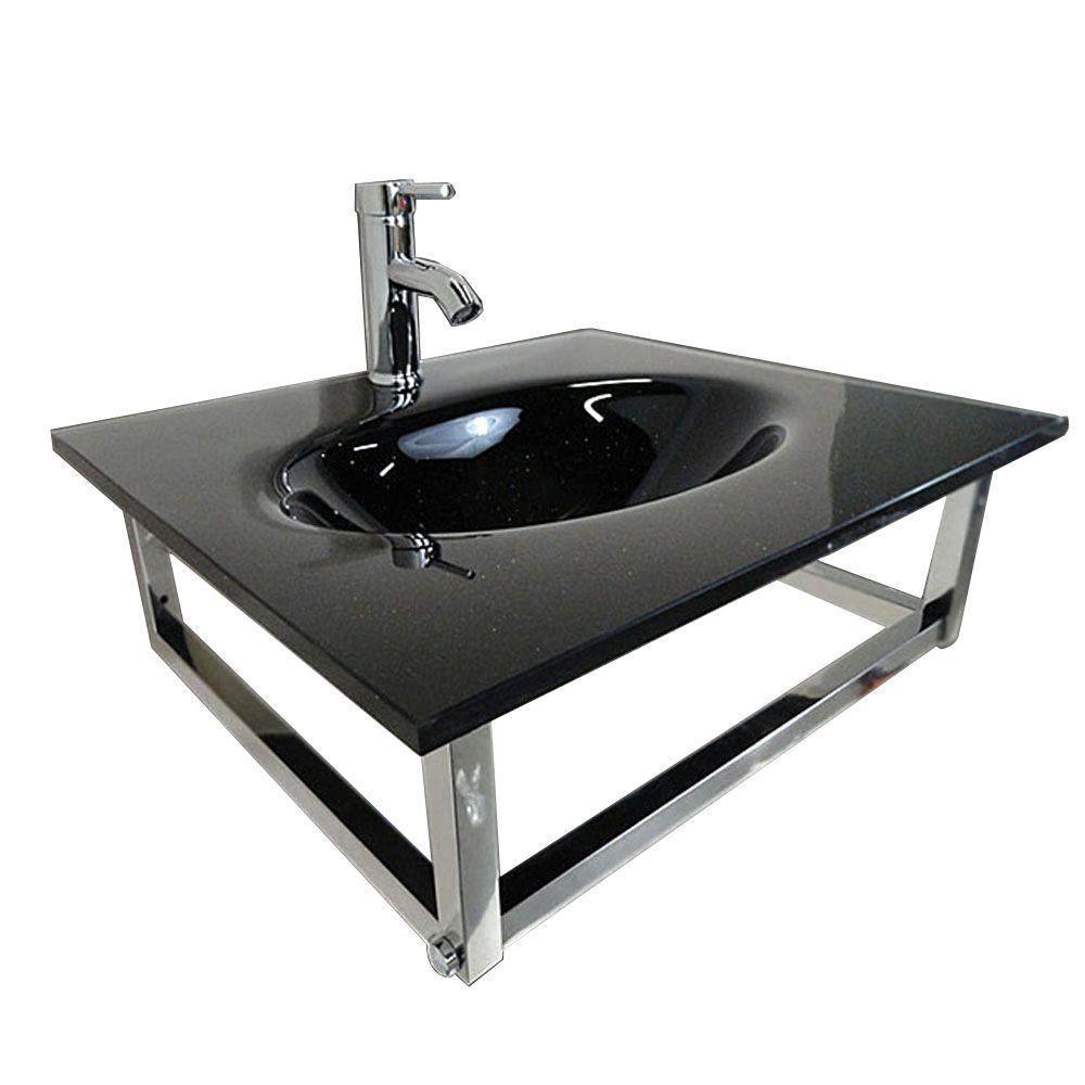 Caius Wall Mounted Bathroom Sink In Black