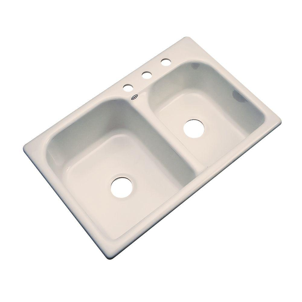 Thermocast Cambridge Drop-In Acrylic 33 in. 3-Hole Double Basin Kitchen Sink in Candle Lyte