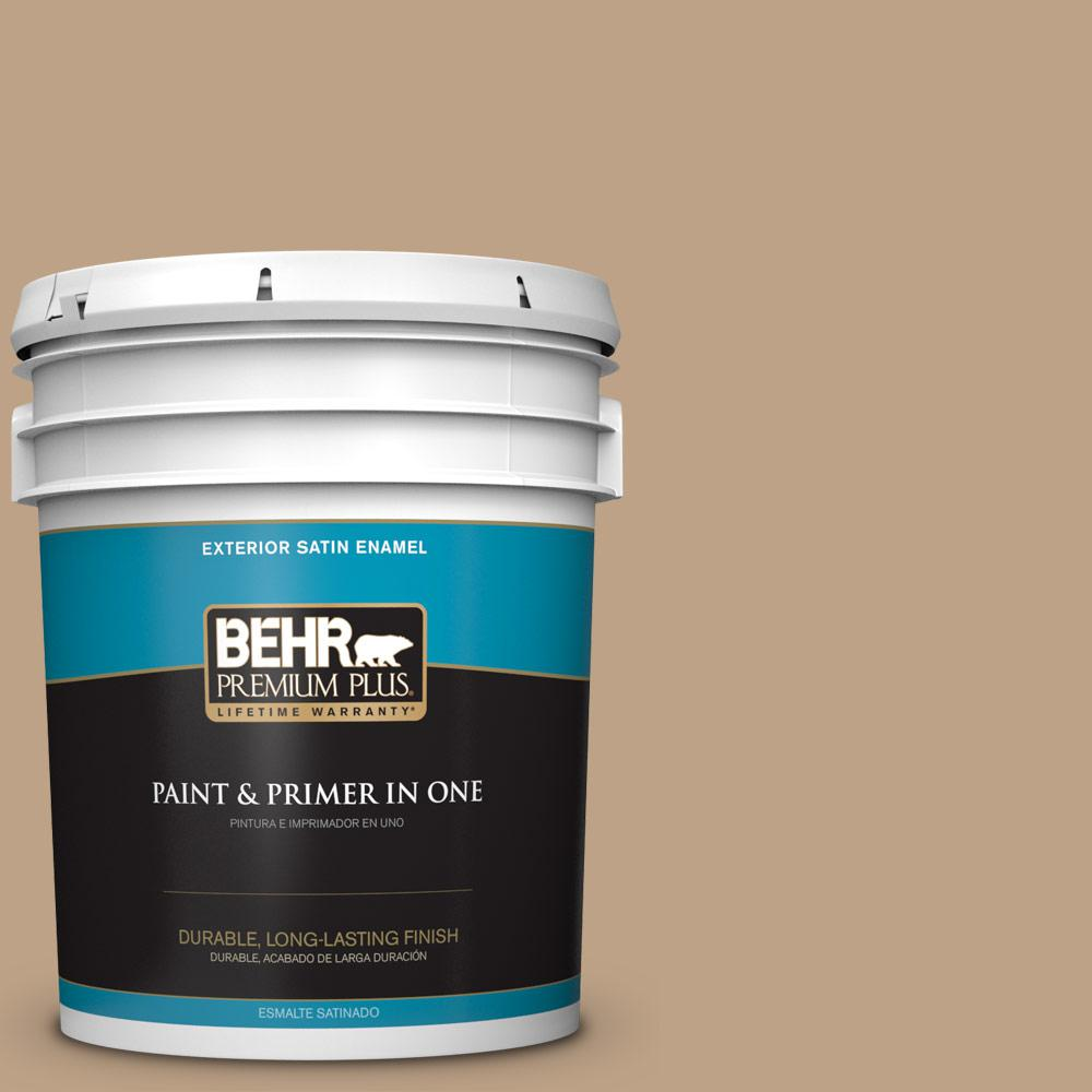 5 gal. #PPU4-05 Basketry Satin Enamel Exterior Paint and Primer in