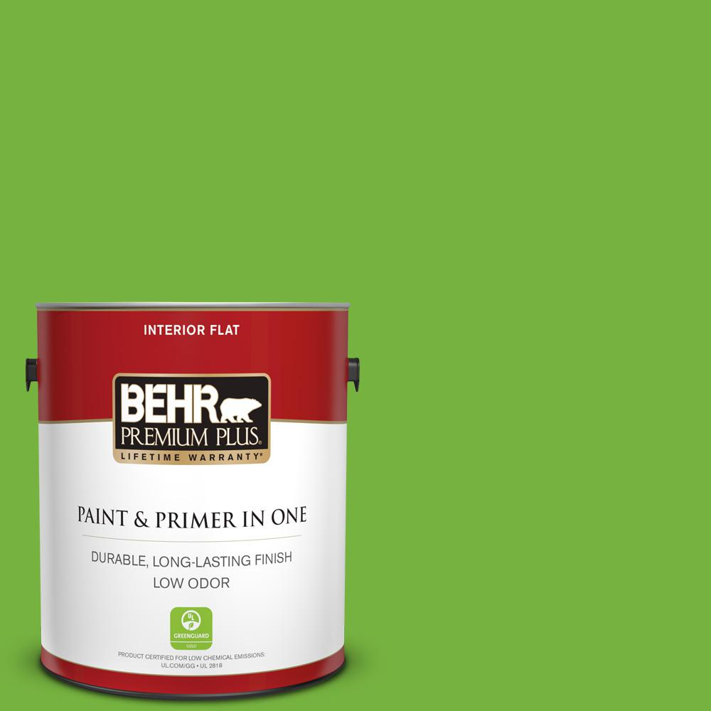 BEHR Premium Plus 1 gal. #S-G-430 Sparkling Apple Flat Low Odor Interior Paint and Primer in One