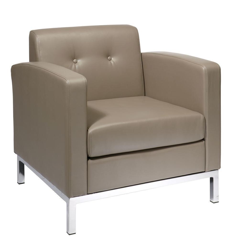 Wall Street Smoke Faux Leather Arm Chair
