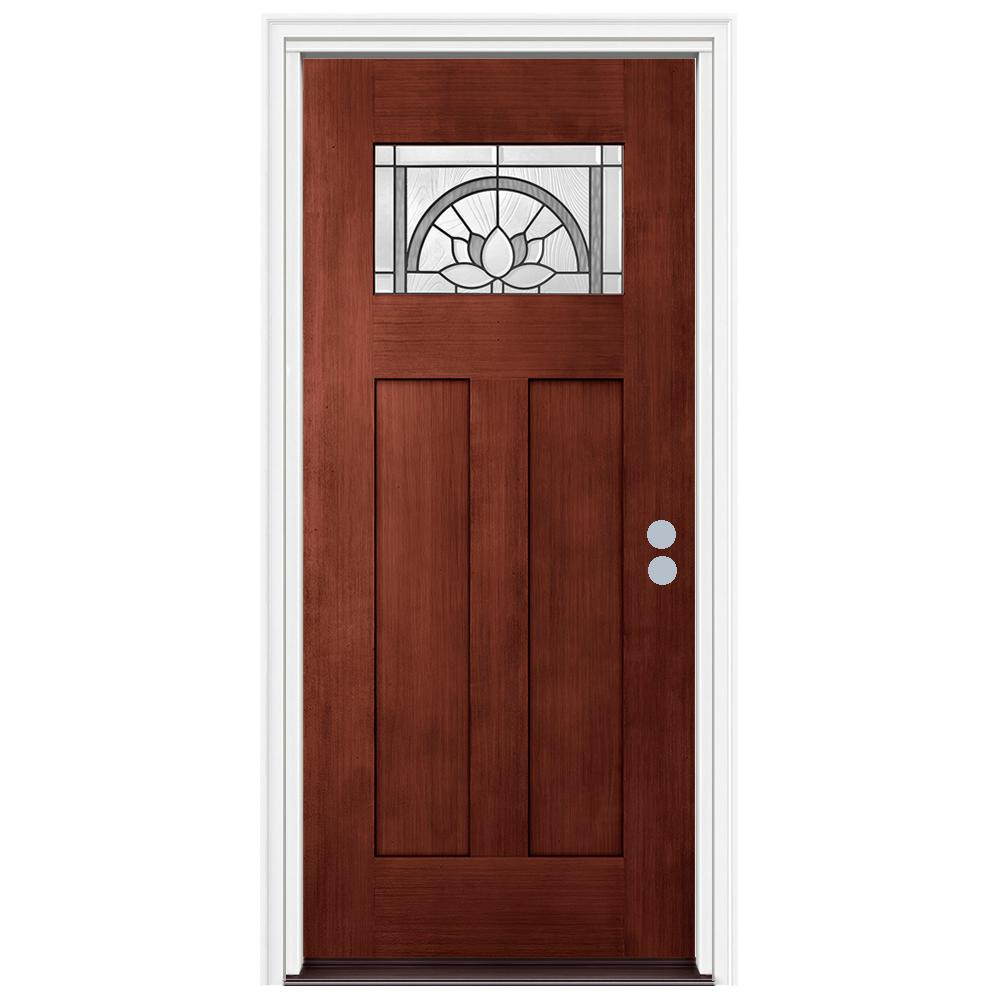 36 in. x 80 in. Craftsman Ardsley Black Cherry Left-Hand Stained