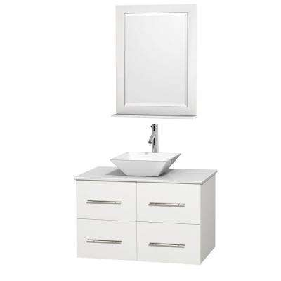 Centra 36 in. Vanity in White with Solid-Surface Vanity Top in White, Porcelain Sink and 24 in. Mirror