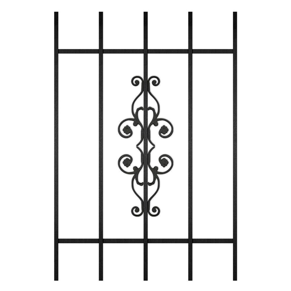 Unique Home Designs La Entrada 24 in. x 36 in. Black 5-Bar Window Guard-DISCONTINUED