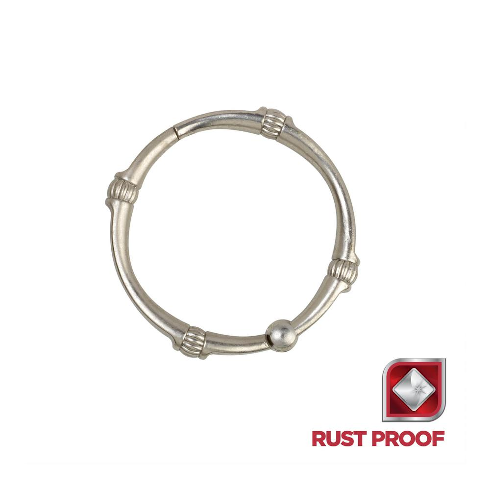 Rustproof Decorative Shower Rings in Brushed Nickel (12-Pack)