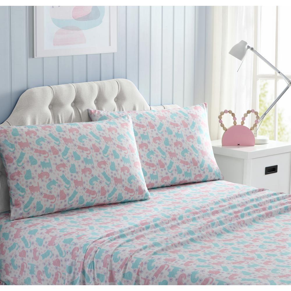 4-Piece Pink and Blue Geometric Full Sheet Set