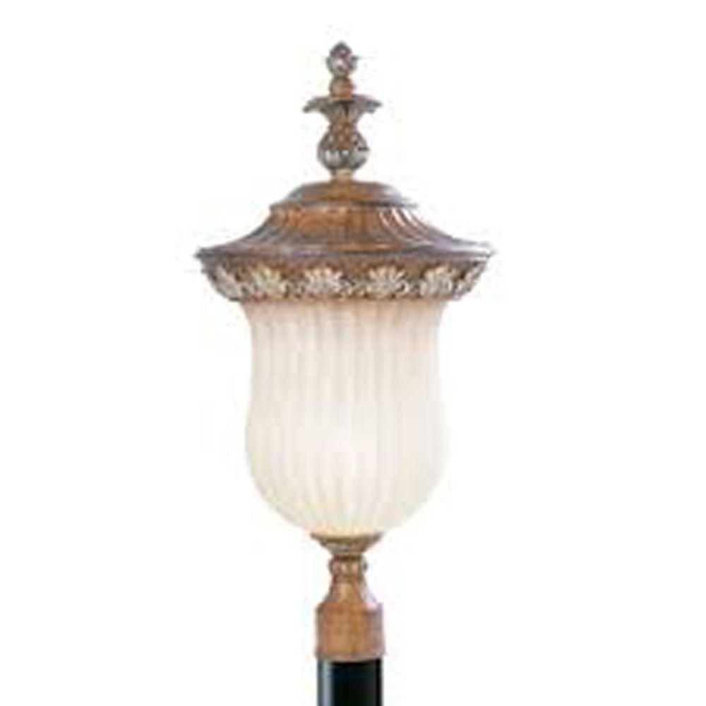 1-Light Outdoor Venetian Patina Incandescent Post Lantern