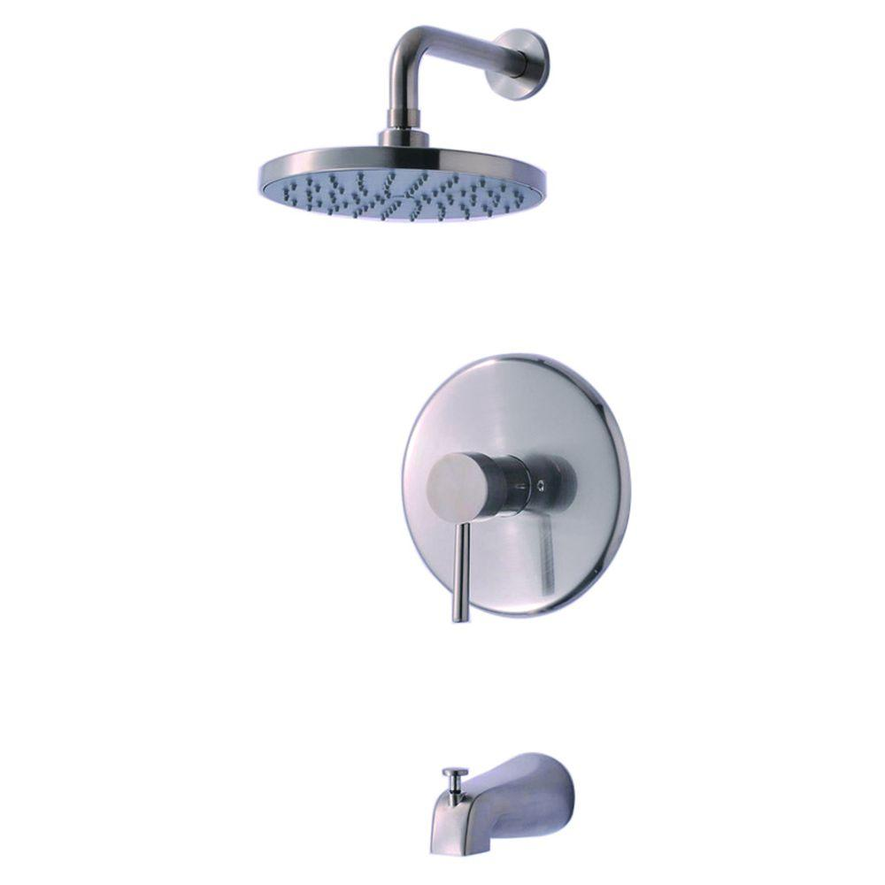 Ultra Faucets Euro Collection Single-Handle 1-Spray Tub and Shower Faucet in Brushed Nickel (Valve Included)