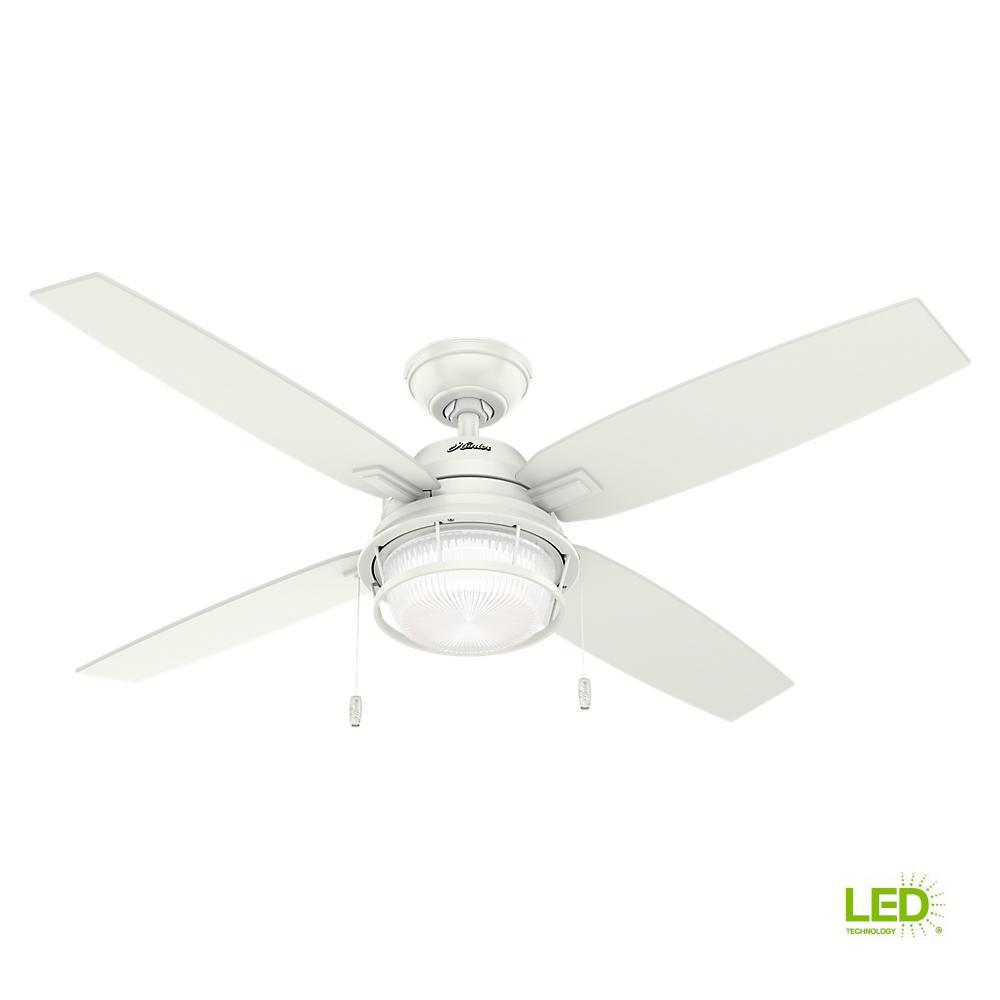 Hunter Ocala 52 in. LED Indoor/Outdoor Fresh White Ceiling Fan with Light