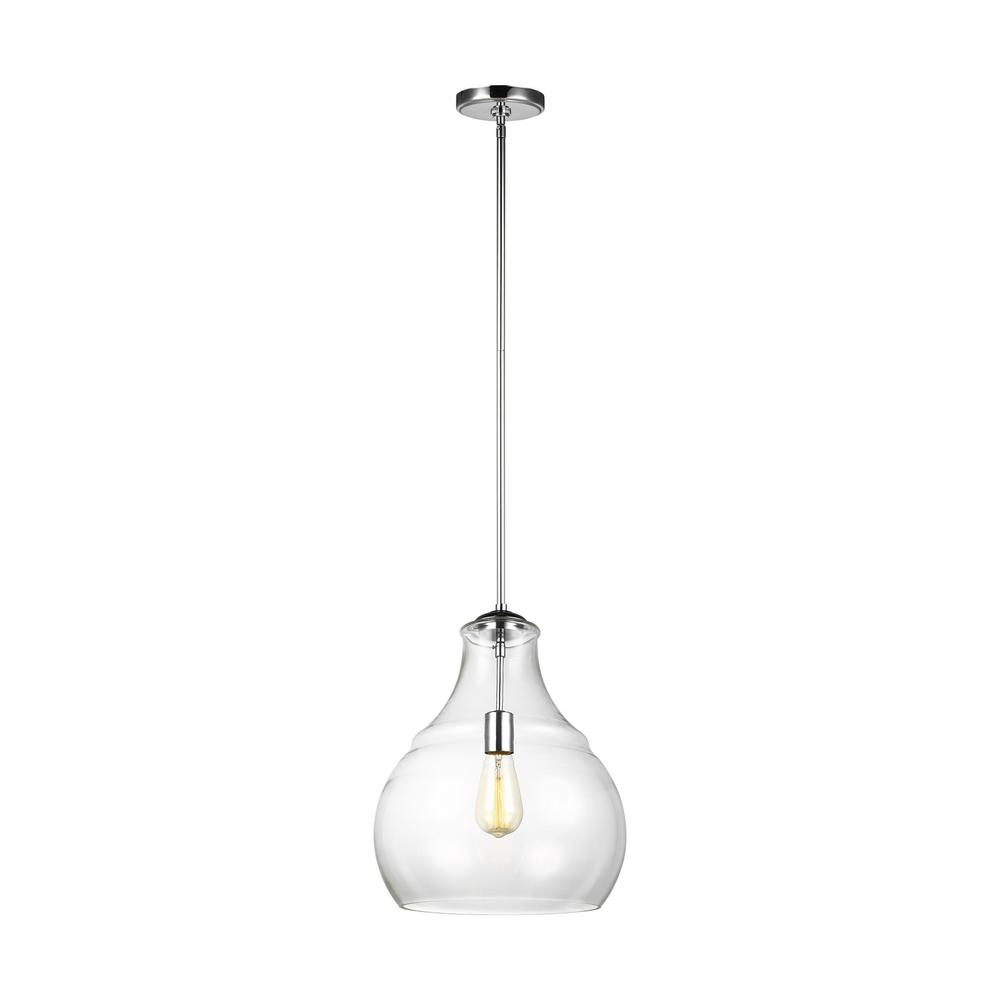 Sea Gull Lighting Zola 1 Light Chrome Pendant With Clear