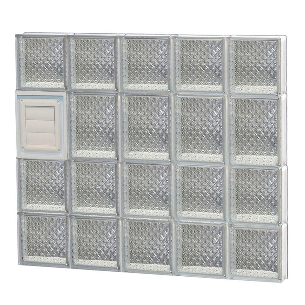 Clearly Secure 28.75 in. x 25 in. x 3.125 in. Frameless Diamond Pattern Glass Block Window with Dryer Vent