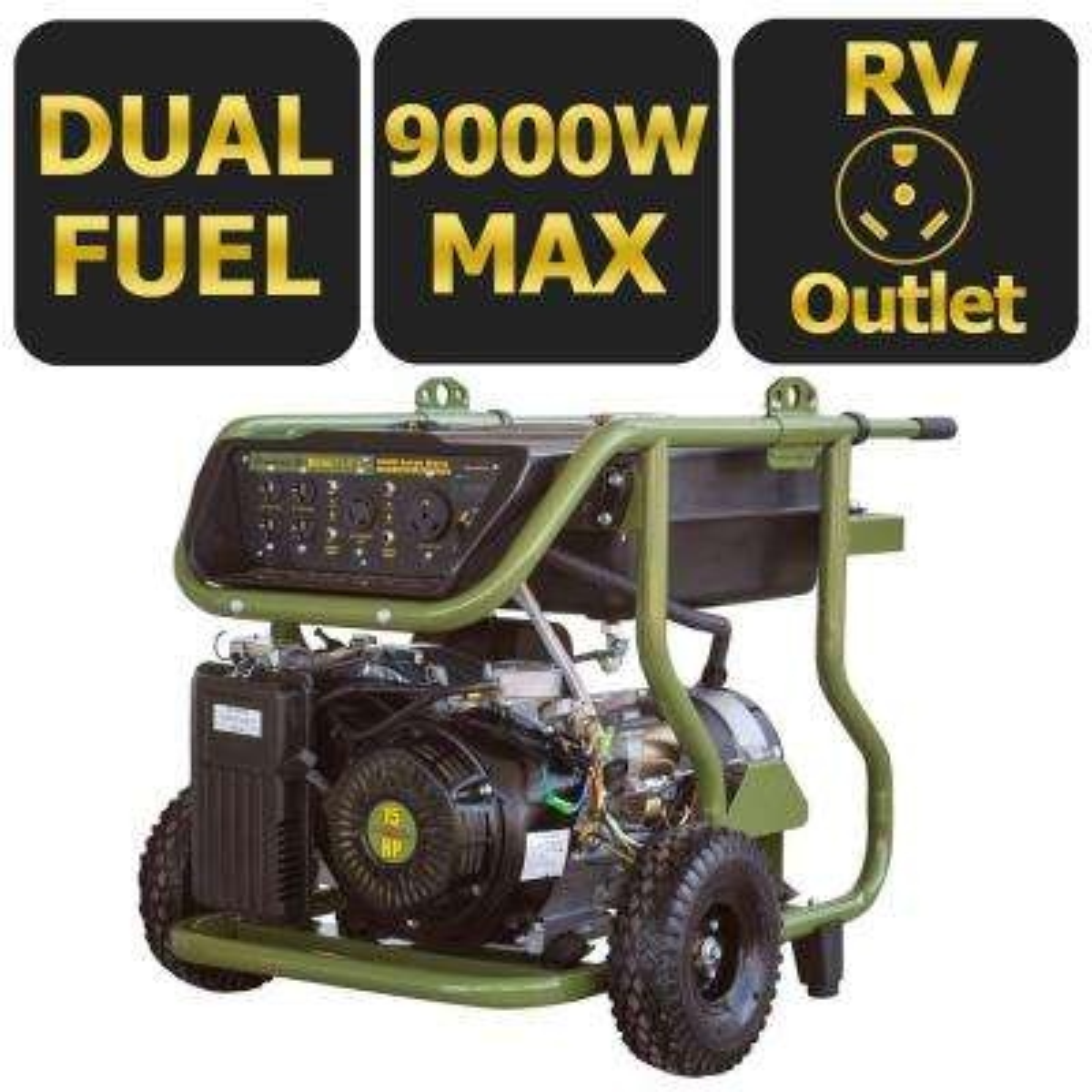9,000-Watt Dual Fuel Powered Electric Start Portable Generator