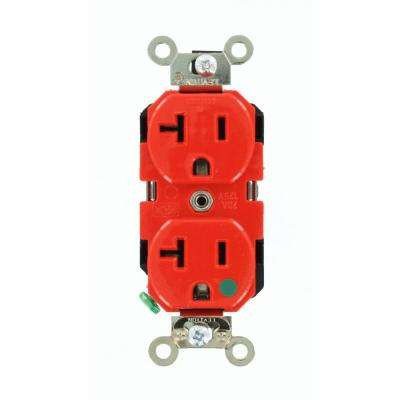 20 Amp Hospital Grade Extra Heavy Duty Self Grounding Duplex Outlet, Red