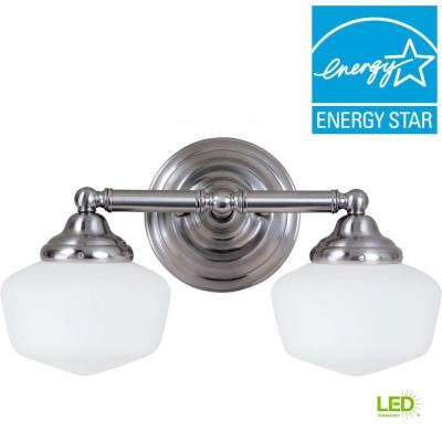 Academy 2-Light Brushed Nickel Vanity Light with LED Bulbs