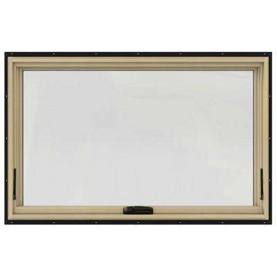 48 in. x 30 in. W-2500 Series Black Painted Clad Wood Awning Window w/ Natural Interior and Screen
