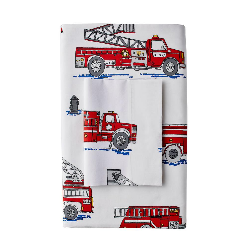 Company Kids By The Store Fire Truck Multi 200 Thread Count Cotton Percale Queen Fitted Sheet 30288B Q MULTI