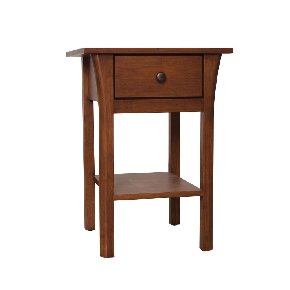 Dacey Solid Maple Dark Cherry Nightstand With Drawer
