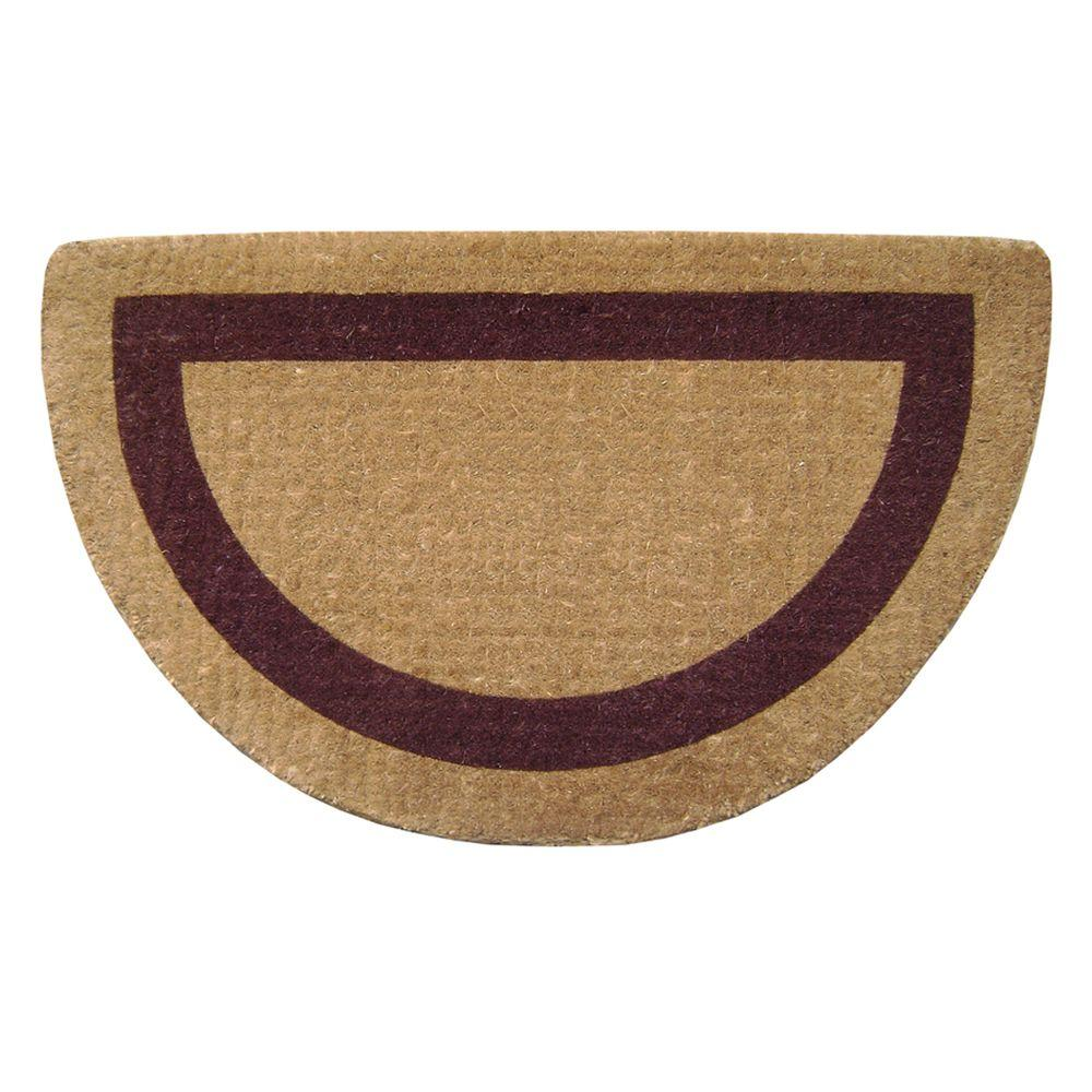 Nedia Home Single Picture Frame Brown 22 in. x 36 in. Half Round HeavyDuty Coir Door Mat