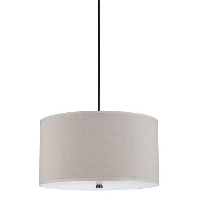 Dayna 4-Light Burnt Sienna Shade Pendant with Linen Shade