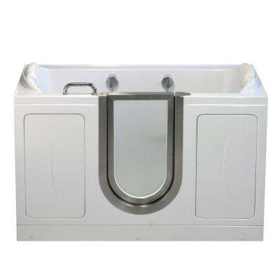 Companion Two Seat 5 ft. x 30 in. Acrylic Walk-In Soaking Bathtub in White with Center Drain/Door
