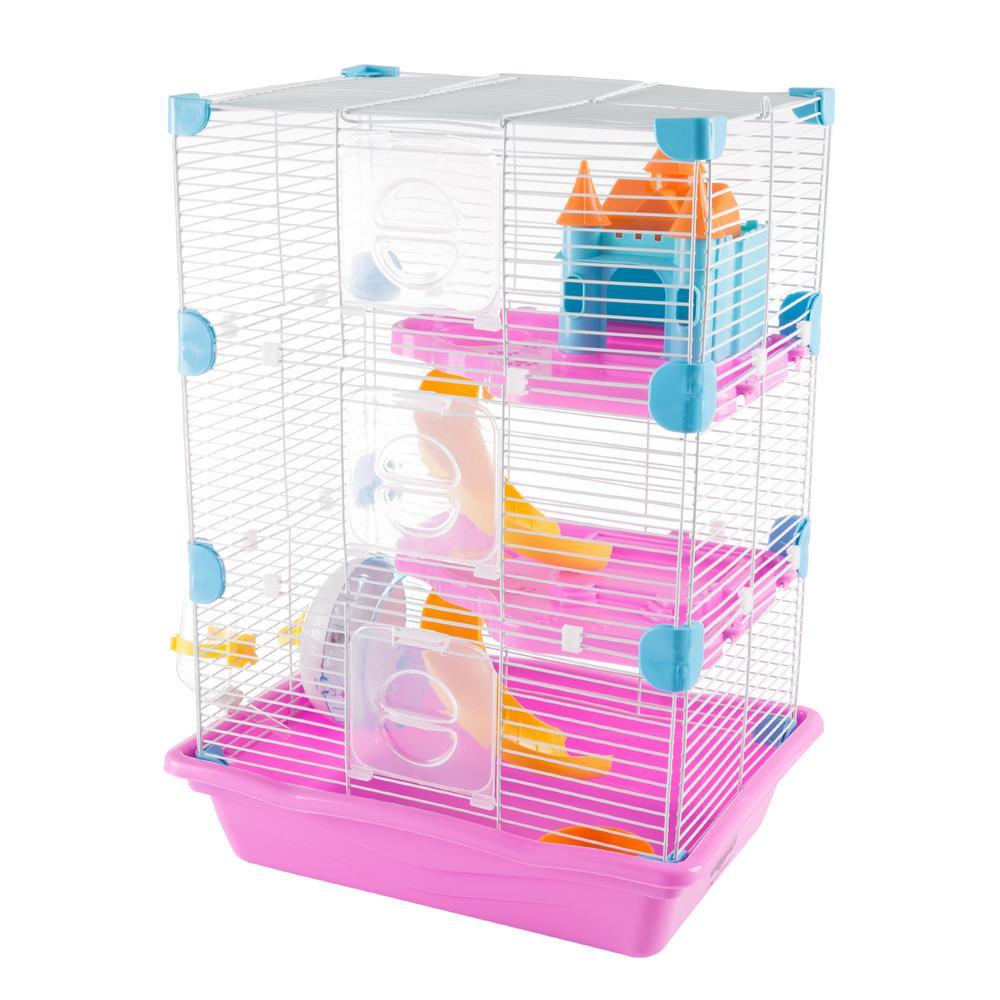 3 Story Pink Hamster Cage Habitat