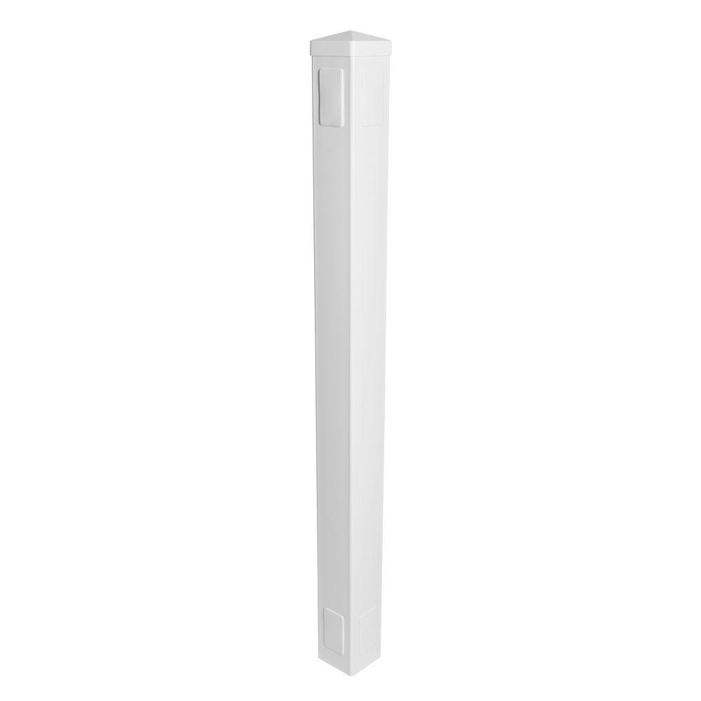 Weatherables 5 in. x 5 in. x 6.5 ft. 3-Rail Vinyl Fence Post EZ Pack