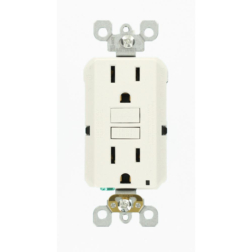 Leviton 15 Amp Self-Test SmartlockPro Slim Duplex GFCI Outlet, White