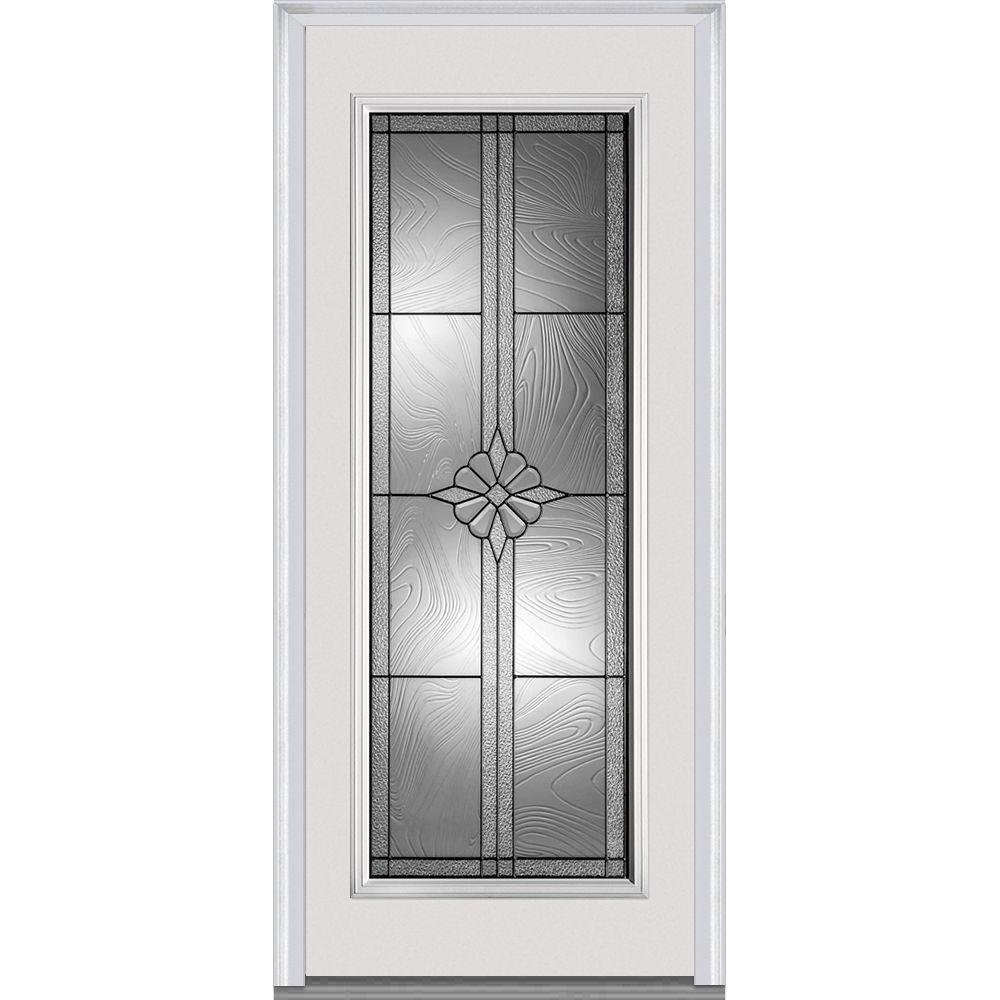 Mmi door 33 5 in x in dahlia decorative glass full for Full glass front door