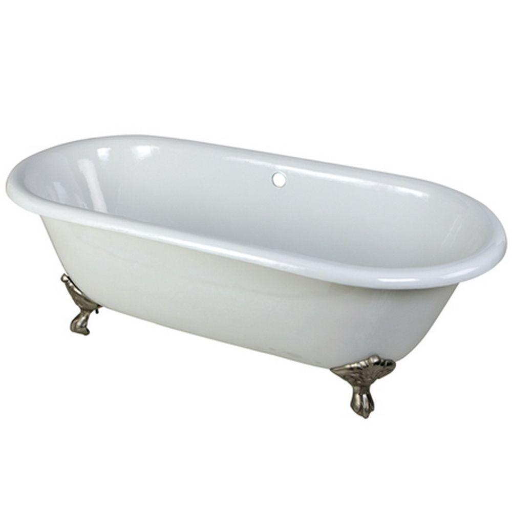 5.5 ft. Cast Iron Satin Nickel Claw Foot Double Ended Tub