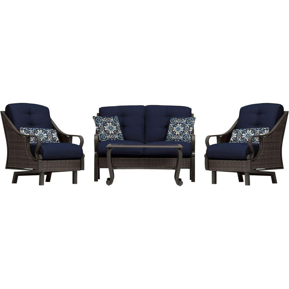 Hanover Ventura 4-Piece All-Weather Wicker Patio Seating Set with Navy Blue Cushions