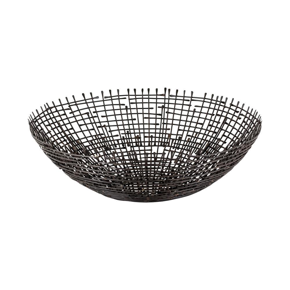 Brass Solder Point 16 in. Shallow Decorative Bowl in Warm Bronze