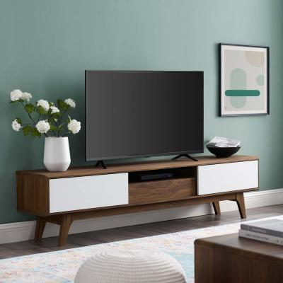 Envision 70 in. Walnut and White Wood TV Stand with 2 Drawer Fits TVs Up to 78 in. with Storage Doors