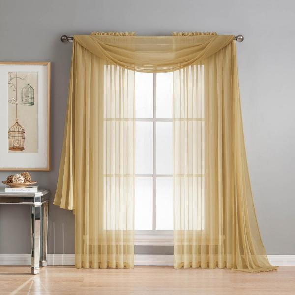 Window Elements Sheer Diamond Sheer Voile Extra Wide 84 In L Rod Pocket Curtain Panel Pair Gold Set Of 2 Ymc003074 The Home Depot